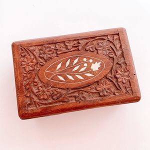 Vintage Carved Wooden Floral Inlay Jewelry Box